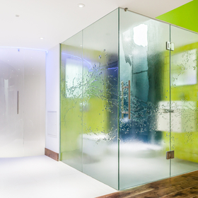 bespoke textured glass shower screens